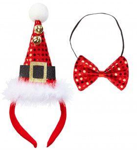 Grappige Kerst Pailletten Mini Hoedje Met 2 Belletjes En Strikje