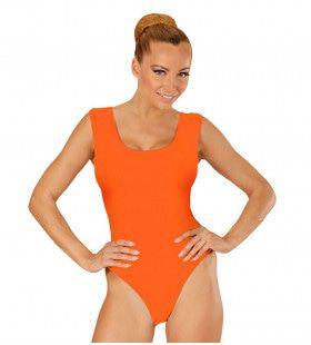 Unicolor Mouwloze Body Volwassen, Oranje