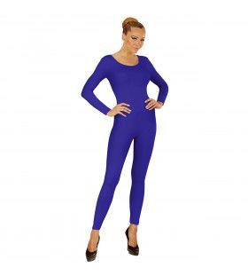 Unicolor Body Volwassen, Lang, Blauw Vrouw Kostuum