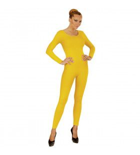 Unicolor Body Volwassen, Lang, Geel Vrouw Kostuum