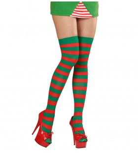 Kerst Thigh High Rood / Groen Gestreept