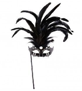 Gedistingeerd Oogmasker Met Stokje, Zwart Luxe Versie