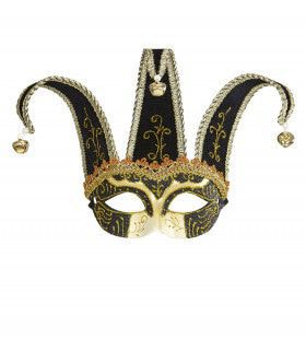 Nar Oogmasker, Joker Met Decoratie Glitters, Zwart