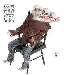 Animatie Skelet Op Stoel Met Geluid Licht, En Beweging
