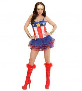 Amerikaanse Super Hero Meisje Vrouw Kostuum