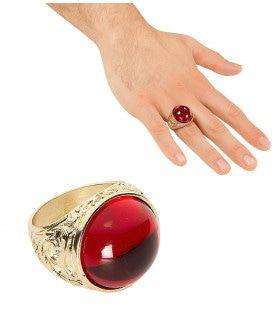 Dikke Gouden Ring Met Rode Steen