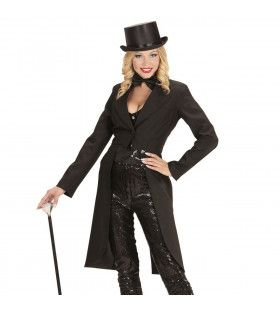 Showlady Zwarte Frackjas Vrouw Kostuum
