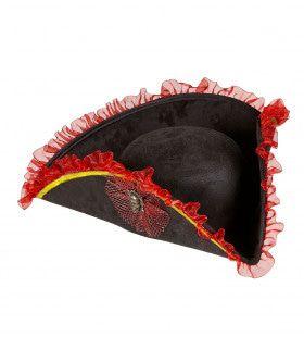 Rood-Zwart Luxe Tricorn Piraat