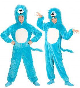 Dieren Onesie Pluche Blauwe Leeuw Kostuum