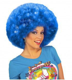Pruik Jimmy Flash Extra Krul, Blauw
