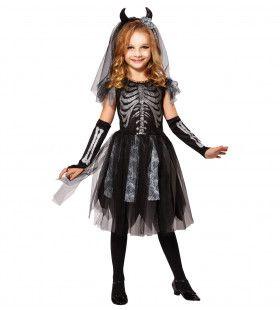 Skelet Lassander Bruid Meisje Kostuum
