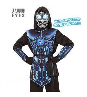Lichtgevende Blauw Zwarte Elektro Cyber Ninja Met Geluid Jongen Kostuum