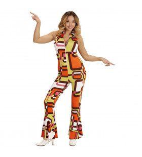 Groovy Geralda 70s Dames Jumpsuit, Buizen Vrouw Kostuum