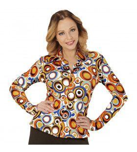 Groovy Gina 70s Dames Shirt, Luchtbellen Vrouw