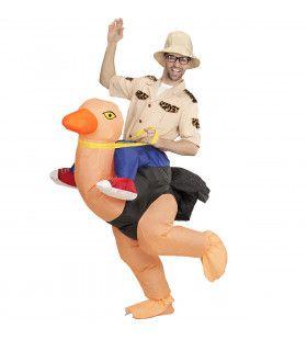 Geinige Ondekkingsreiziger Op Struisvogel, Opblaasbaar Kostuum
