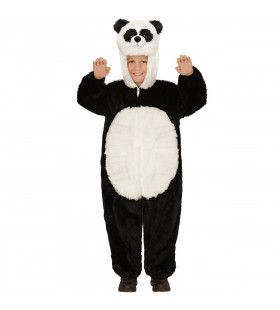 Jumpsuit Met Kap En Masker 98 Centimeter, Pinda Panda Kostuum