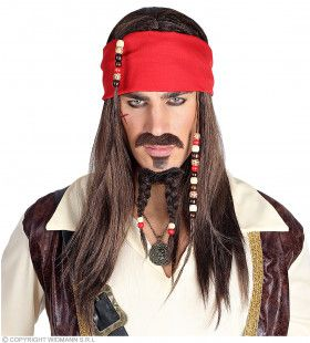 Piraten Set Pruik, Baard, Sik En Bandana