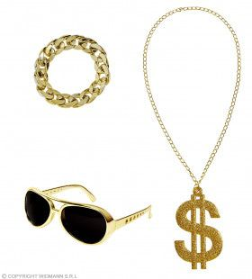 Foute Gouden Rapper Set Zonnebril, Ketting, Armband