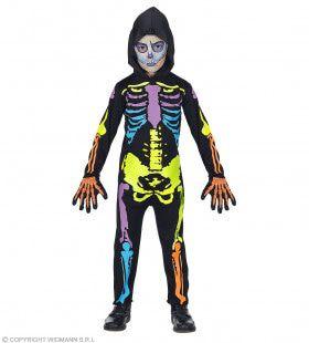 Felgekleurd Neon Skelet Kostuum