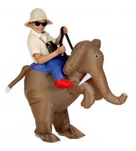 Opblaasbaar Ontdekkingsreiziger Op Een Olifant Kostuum