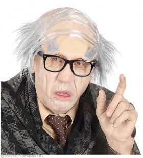 Oude Opa Pruik Met Gecamoufleerde Brede Scheiding