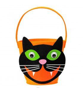 Trick Or Treat Tasje Grijnzende Zwarte Kat