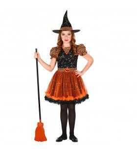 Laag Vliegende Heks Halloween Meisje Kostuum
