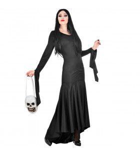 Lang Zwart Fladderend Morticia Addams Family Vrouw Kostuum