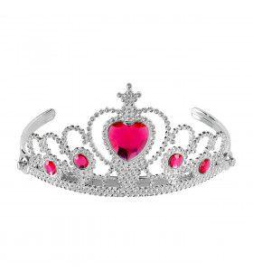 Zilveren Tiara Met Roze Steentjes Prinses