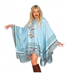 Luxe Hemelsblauwe Indianen Poncho