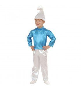 Kleine Blauwe Smurf Dwerg Kind Kostuum