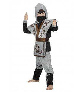 Ninja Dolle Draak Grijs Jongen Kostuum