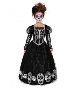 Zwarte Jurk Versierd Met Schedels Day Of The Dead Meisje