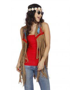 Bruin Hippie Vestje Indiaan Missouri Vrouw
