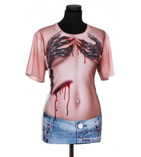 Shirt Horror Hand Bra Print Man