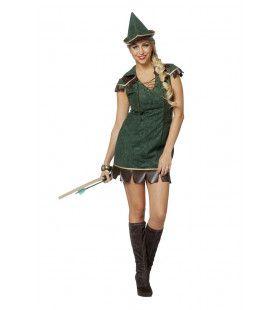Robijn Hood Kampioen Boog Schieten Vrouw Kostuum