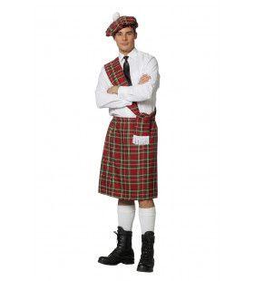 Set Schot Tartan Rood Dunfermline Man Kostuum