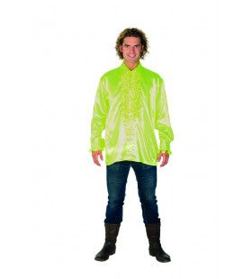 Dolle Disco Ruches Blouse Neon Geel Man