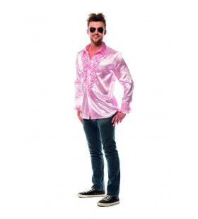 Dolle Disco Ruches Blouse Lichtroze Man