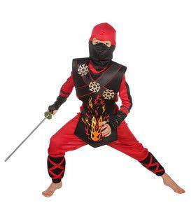 Vurige Ninja Strijder Met Werpsterren Kostuum