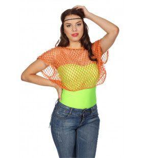 Disco Visnetshirt Neonoranje Vrouw