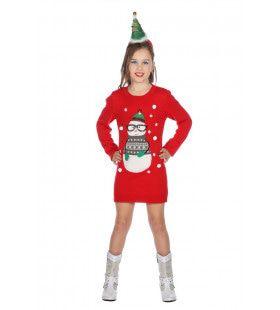 Kerstjurk Sneeuwpop Winter Wonderland Meisje