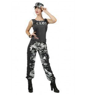 Paramilitair Camo Carmen Grijs Vrouw Kostuum
