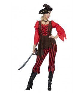 Gestreepte Kaper Piraat Pam Pistolet Vrouw Kostuum