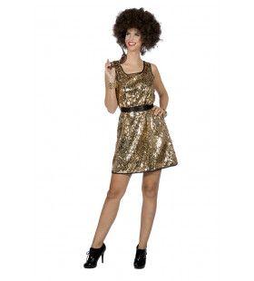 Flitsend Gouden Diana Ross Disco Queen Vrouw Kostuum