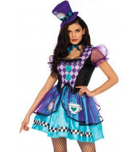 Fleurig Tea Time Mad Hatter Vrouw Kostuum