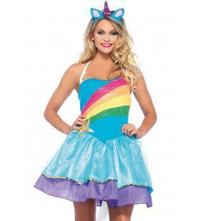 Wonderland Rainbow Unicorn Vrouw Kostuum
